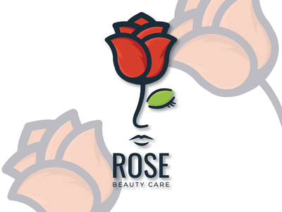 rosebeautycare branding art minimal illustrator logo illustration icon graphic design flat design