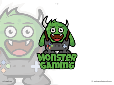 Monster Gaming minimal icon branding illustrator illustration graphic design design logo