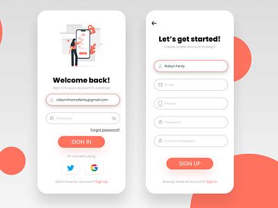 Sign Up Page UI app ux ui illustration design