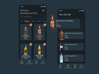 Liquor Store App - Dark Mode explore popular minimal darkmode drinks liquor alcohol uxdesign uiuxdesign inspiration dribbble dailyui ux ui design app