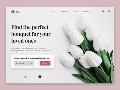 Flowershop Home Page webdesign web flowershop flowers explore minimal uxdesign uiuxdesign inspiration dribbble ux ui design