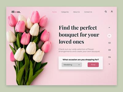 Flowershop Home Page homepagedesign homepage flowershop flowers webdesign web explore minimal uxdesign uiuxdesign inspiration dribbble ui ux design