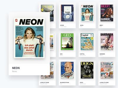G+J – Brands website ui category magazine cards brands