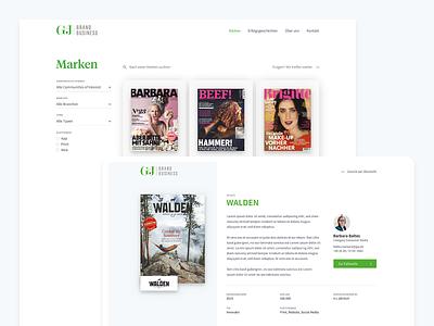 G+J – Brands website web ux ui brands filter