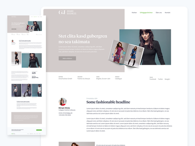 G+J – Case Study design ux ui web website content modules content design serif header case study cases template