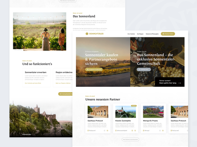Sonnenland – Homepage tourism directory frontpage homepage cards products website web ux ui