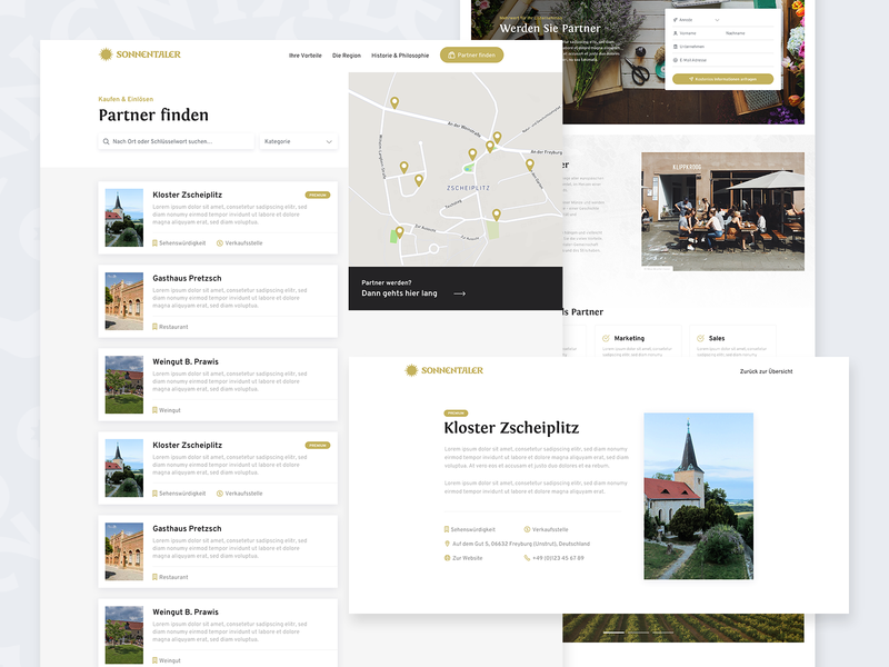 Sonnenland – Partner Directory design website web ux ui products page filter search cards listings directory map partners products