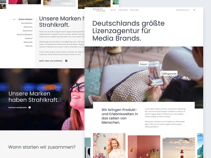 Brands – Homepage call to action showcase slider header homepage frontpage website ux web ui