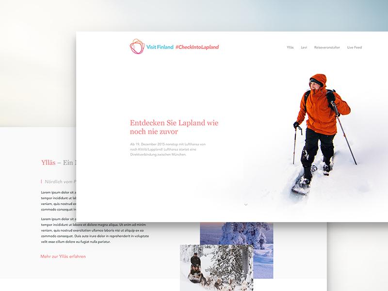 VisitFinland Campaign lapland visit finland landing gradient white space snow travel web