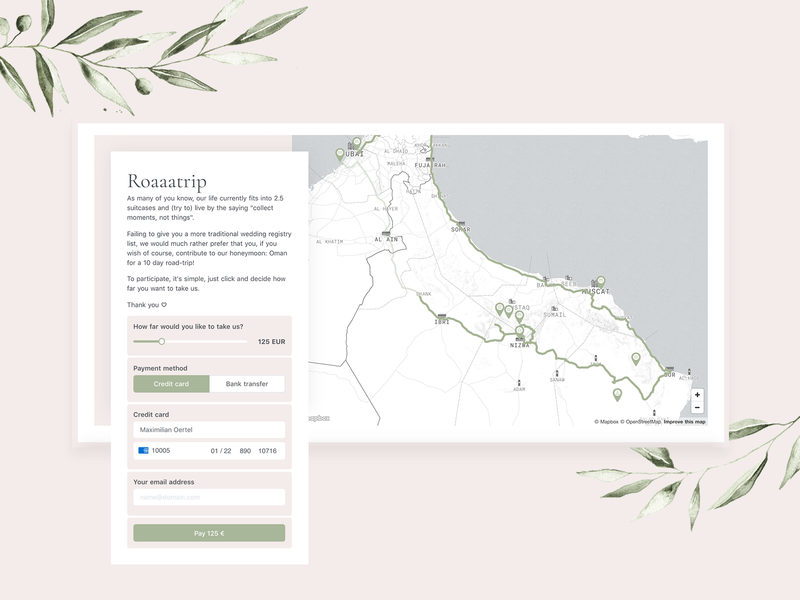 Wedding | Registry 🤵👰 ux ui web payment form credit card payment registry wedding gift interactive map markers roadtrip route credit card stripe mapbox map