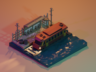 Train Station lowpoly blender3dart blender3d blender