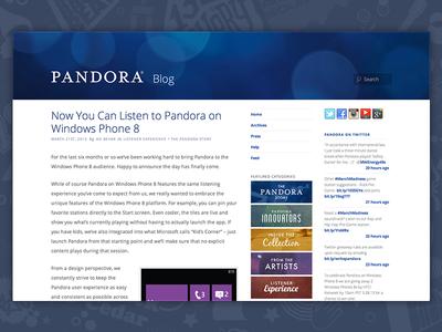 Pandora Blog Redesign
