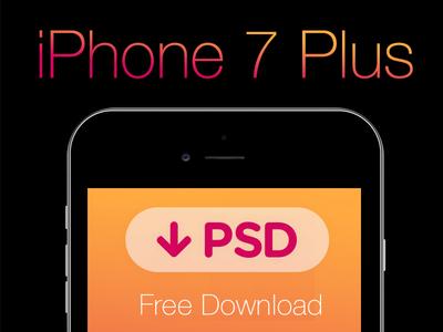 FREE iPhone 7 Plus PSD. Black & White & Grid Template.