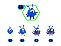 Avatar Evolution Bug and Level bug illustration icon character design ui vector ana rebeca perez