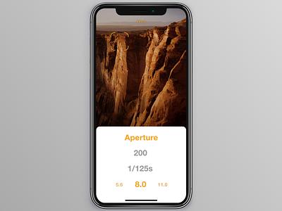 Updated Light meter app design vector design ux iphone x ui mockup iphone app flat app