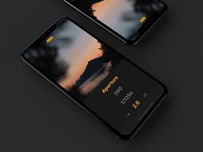 Light meter app | Dark Mode camera camera app vector photo app iphone light meter photograhy iphone x ux ui mockup iphone app flat design app