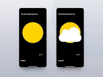 Weather App vector iphone x ux ui mockup iphone app flat design app