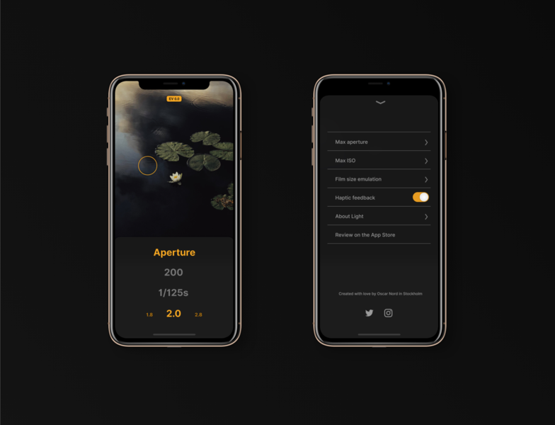 Light meter app camera app camera iphone x ux ui mockup iphone app flat design app