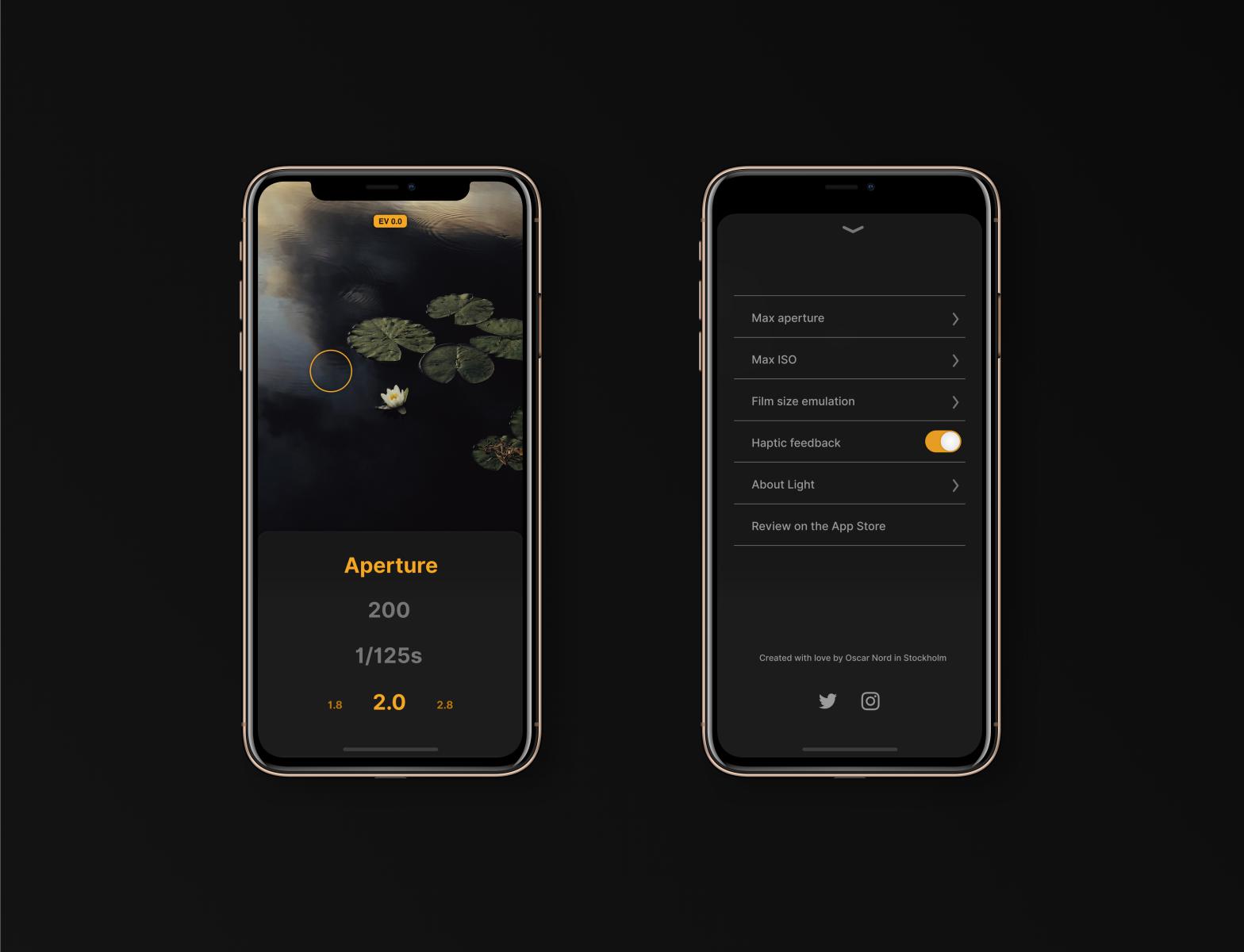 Light meter app by Oscar Nord on Dribbble