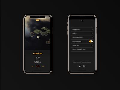Light meter app camera app camera iphone x ux ui mockup iphone app flat design app