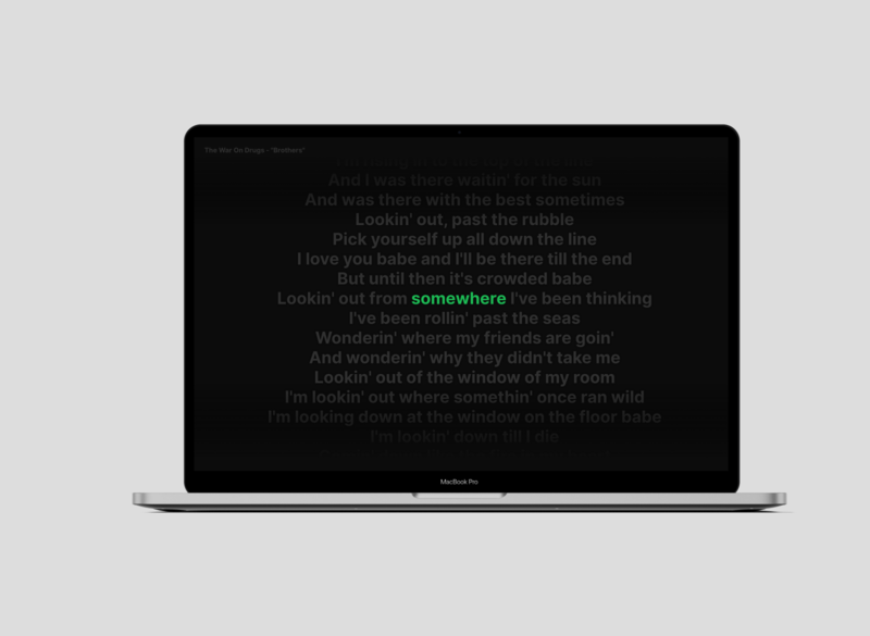 SongScreen a Spotify MacOS screensaver spotify screensaver macos vector ui mockup flat design app