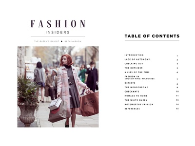 Queen's Gambit Fashion Book Design (Cover + Contents) layouts typography coffee table book book layout queens gambit magazine indesign fashion book design beth harmon graphic design design