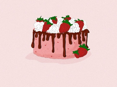 Strawberry Cake Illustration food illustration cake adobe illustrator adobe ui illustrator minimal illustration flat graphic design design
