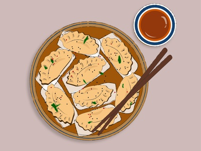 Dumplings food and drink food illustrations dumplings food illustration adobe illustrator adobe vector ui minimal illustrator illustration flat graphic design design