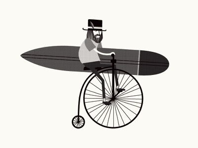 Penny-Farthing longboard character design illustration surfer surf surfboard penny farthing penny-farthing beard hipster bike