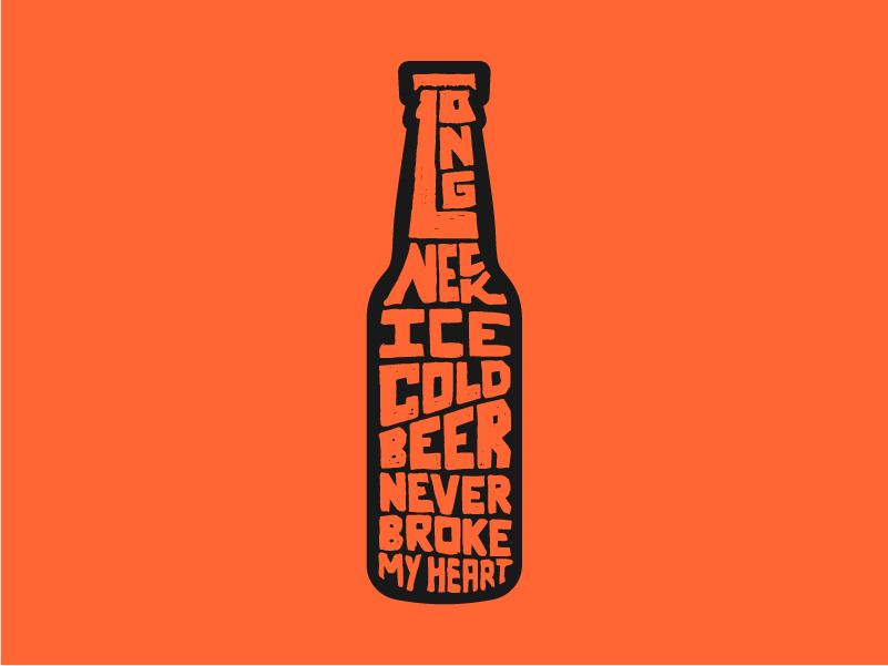 Beer Never Broke My Heart bottle graphic design typography long neck ice cold luke combs beer