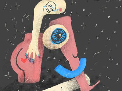 Portrait illustration butt tattoo arm knee eyes