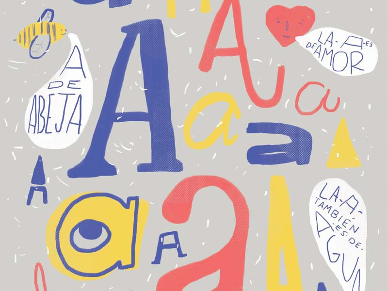 A illustration. bee a lettering type font