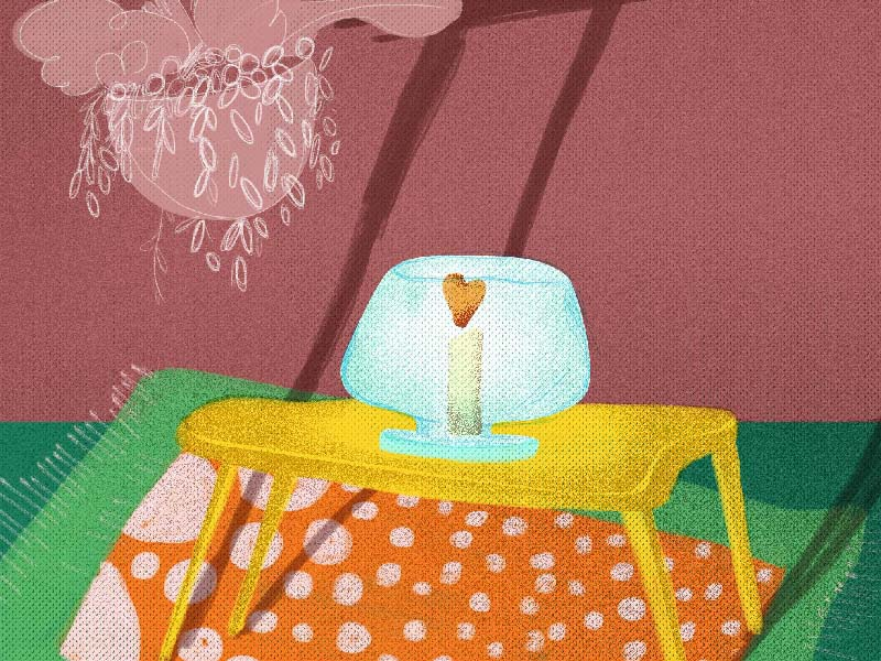 Wishing mexico candle illustration interior