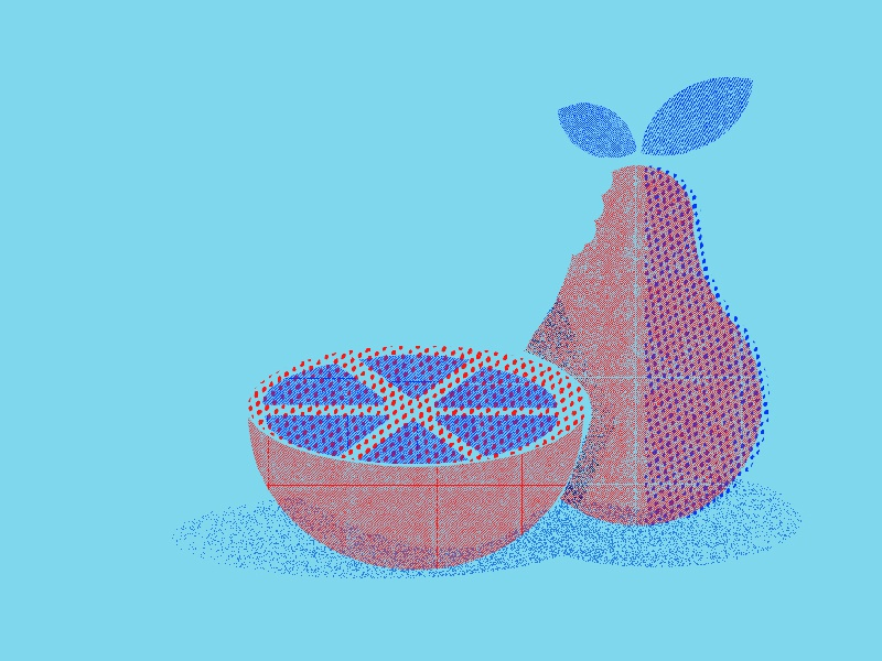 Frutas 70s vector risograph texture pattern fruits