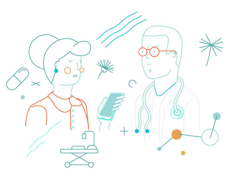 Medical app character pattern vector health medical illustration branding