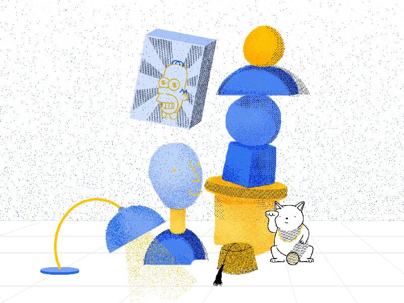 Brand Illustration web design geometric manekineko simpsnons illustration branding