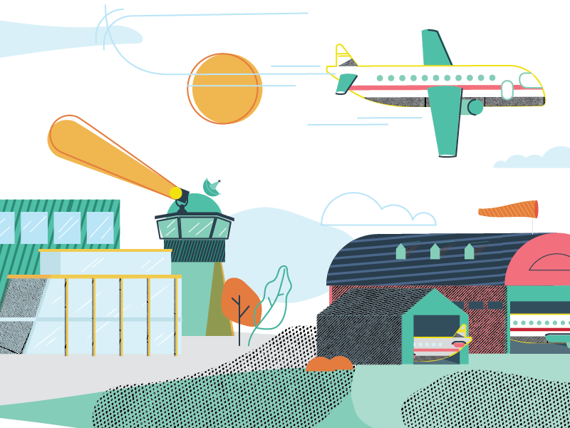 Airport control hangar traveling editorial vector illustration airport