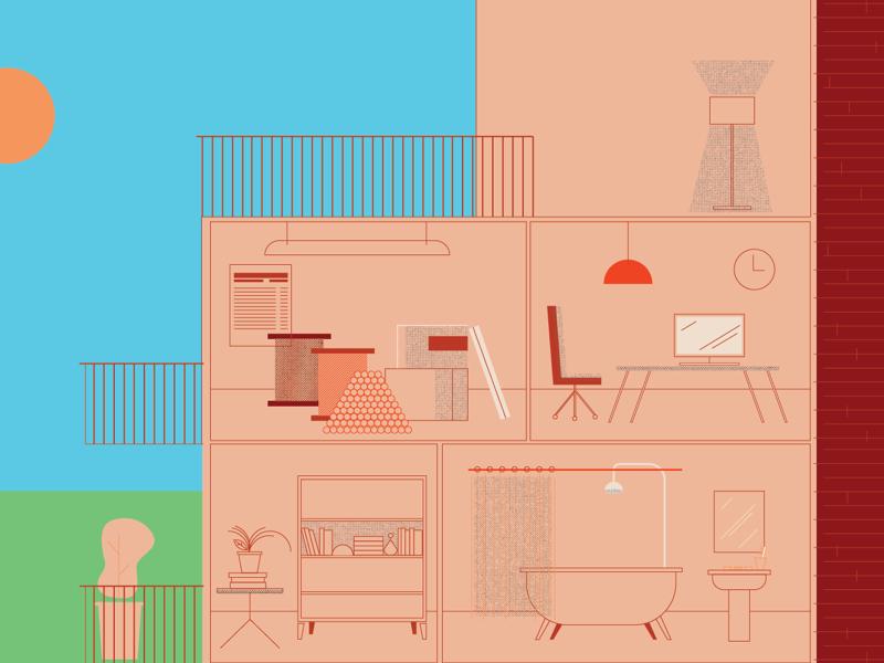 Una casa o algo infographic interior plants building home texture vector illustration