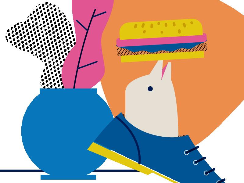 Random stuff 1 texture vector random shoes plants pot dolphin burguer editorial illustration