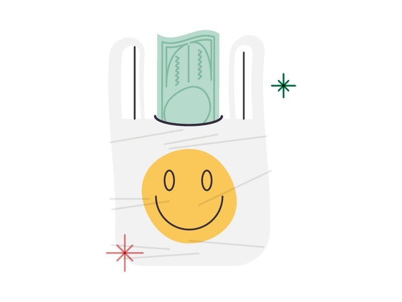 Plastic Money cash smiley happy money recycle plastic bag vector illustration