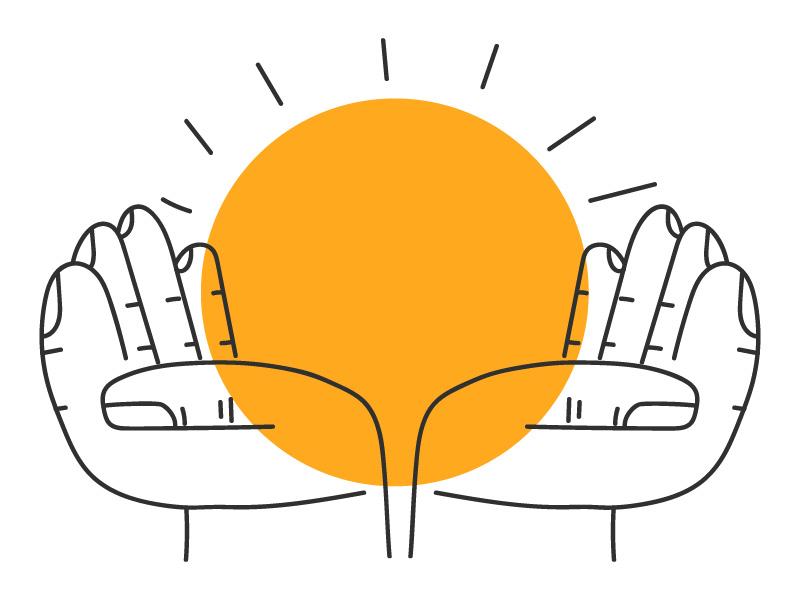 Hands character sun hand vector illustration