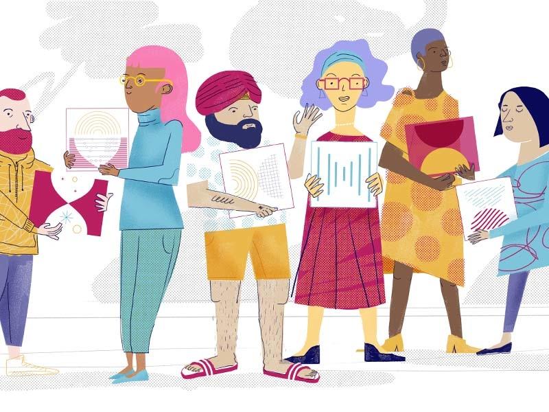 Building diversity color editorial illustration pattern texture diversity character
