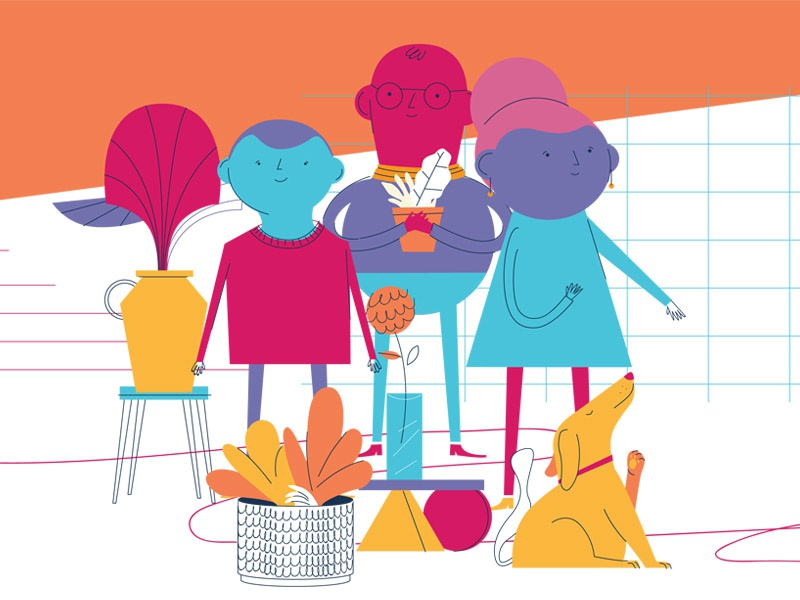 This is not a family. failed editorial flat vector illustration house stairs pots plants dog character