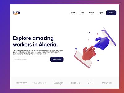 Hire me platform ux design blue purple red white testimonials workers algeria services platform 3d website design webdesign website illustration design graphic design minimal clean