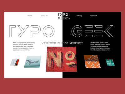 TypoGeeks landing page ios adobe xd figma inspiration web webdesign landing page art gallery gallery images white website ui logo algeria 3d typography minimal graphic design clean