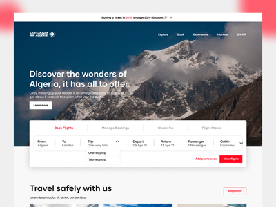 Air Algerie Website Redesign web design safety bookings travel discover ux planes fights airport airline website ui logo algeria illustration typography minimal graphic design design clean