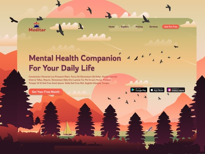 Meditar Website lakes mountains meditation mobile sunset app healthcare health mental health mindfulness design web 3d ui website vector ux typography graphic design illustration