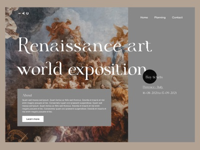Renaissance Art Expo web design website design italy painting modern typography clean ux ui website medieval mid age midcentury museum exposition expo event art renaissance minimal