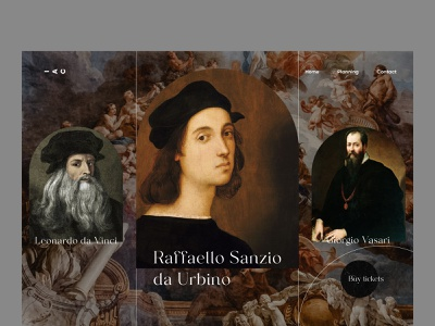 Reanaissance artists gallery creativity magazine figma trending gallery event art event mid-century medieval painting italy leonardo da vinci artists renaissance web design ui ux website minimal clean