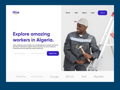 Hire me exploration landing page purple services search engineer photography plumbers location trusted hire filters icon figma algeria web design ux ui website minimal clean
